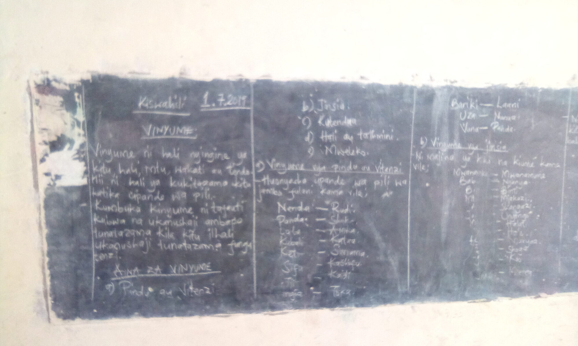 July 2019 Kiswahili lesson notes in a primary school in Migori County, Kenya